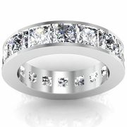 Channel Set Princess Cut Eternity Band 6.00 cttw