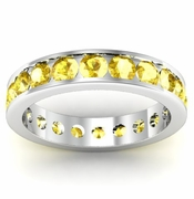 Channel Set Yellow Sapphire Eternity Ring