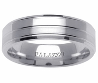 Classic Palladium Men's Wedding Ring Grooved Design