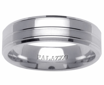Classic Palladium Men's Wedding Ring Grooved Design - click to enlarge