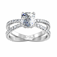 Crossed Pave Band Engagement Ring