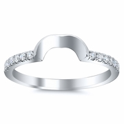 Curved Matching Diamond Wedding Band for Heart Shape