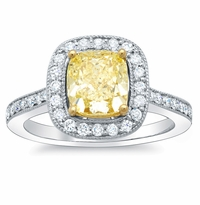Cushion Cut Canary Diamond Ring 0.75 cttw