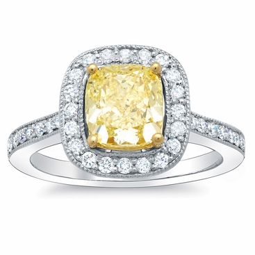 Cushion Cut Canary Diamond Ring - click to enlarge