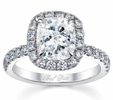 Cushion Cut Halo Engagement Ring - click to enlarge