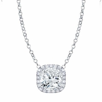 Cushion Cut Moissanite Pendant with Diamond Cushion Halo