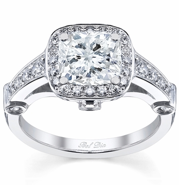 Cushion Diamond Halo Engagement Ring - click to enlarge