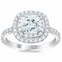 Cushion Double Halo Engagement Ring