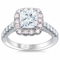 Cushion Engagement Ring with Pink Diamond Halo