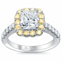 Cushion Engagement Ring with Yellow Diamond Halo