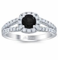 Cushion Halo Engagement Ring for Round Black Diamond