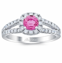 Cushion Halo Engagement Ring for Round Pink Sapphire