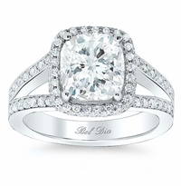 Cushion Halo Engagement Ring with Double Shank