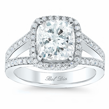 Cushion Halo Engagement Ring with Double Shank - click to enlarge
