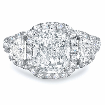 Cushion Halo Engagement Ring with Half Moons - click to enlarge
