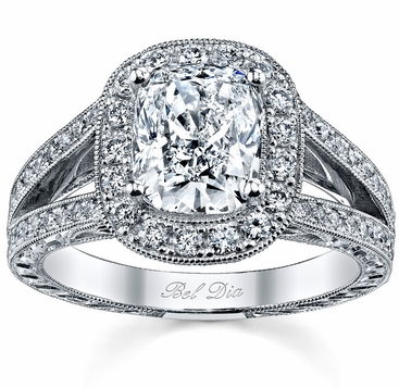 Cushion Halo Engagement Ring with Split Shank - click to enlarge