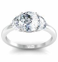 Cushion Three Stone Engagement Ring with Half-Moons