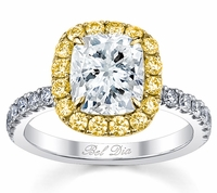 Cushion Yellow Diamond Halo Engagement Ring for White Diamond