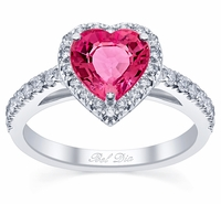 Diamond Accented Heart Shaped Pink Sapphire Engagement Ring
