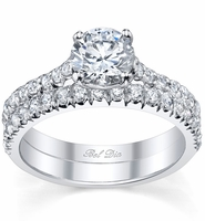 Diamond Accented Solitaire and Wedding Band Set
