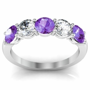 Diamond and Amethyst Ring Round Brilliant Cut Shared Prong 1.50cttw