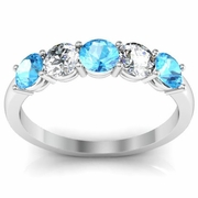 Diamond and Aquamarine Gemstone Ring