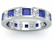 Diamond and Blue Sapphire Eternity Wedding Band