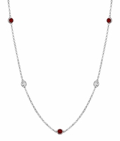 By the Inch Style Gemstone Necklace with Garnet and Diamond
