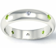 Diamond and Peridot Domed Landmark Eternity Band