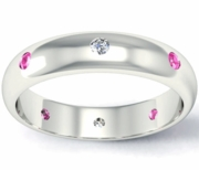 Diamond and Pink Sapphire Domed Landmark Eternity Band