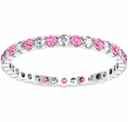 Diamond and Pink Sapphire Eternity Ring 0.70 cttw.