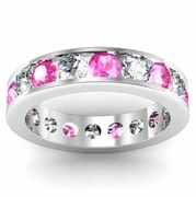 Diamond and Pink Sapphire Round Gemstone Eternity Band in Channel Setting