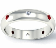 Diamond and Ruby Domed Landmark Eternity Band