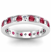 Diamond and Ruby Eternity Ring in Channel Setting