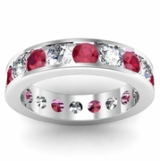 Diamond and Ruby Gemstone Eternity Band in Channel Setting