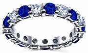 Diamond and Sapphire Eternity Band 3.00cttw