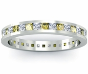 Diamond and Yellow Sapphire Eternity Band