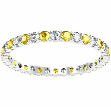 Diamond and Yellow Sapphire Eternity Ring 0.70cttw - click to enlarge