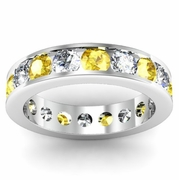 Diamond and Yellow Sapphire Round Gemstone Eternity Band in Channel Setting
