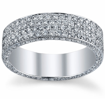 Diamond Eternity Ring with Micro Pave in 6 Rows - click to enlarge