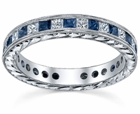 Diamond Eternity Wedding Ring Band with Sapphires, Rubies or Emeralds in Channel Setting