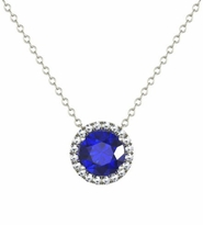 Diamond Halo Gold Pendant with Blue Sapphire Center