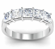 Diamond Princess Cut Wedding Band