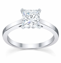 Diamond Solitaire Cathedral Flat Engagement Ring 2.5 mm