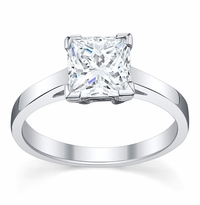 Diamond Solitaire Cathedral Flat Engagement Ring 3 mm