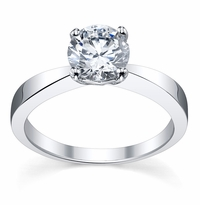 Diamond Solitaire Tapered Flat Engagement Ring