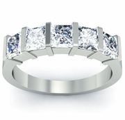 Diamonds 5-Stone Ring Princess-Cut Diamonds Certified by GIA