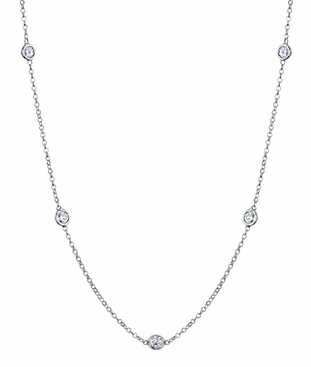 1 Carat Diamond Station Necklace, F-G/VS Diamonds - click to enlarge