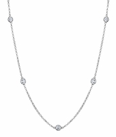 1 Carat Bezel Diamond Necklace, G-H/SI Diamonds