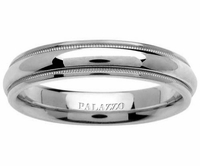 Domed Palladium Ring Milgrain